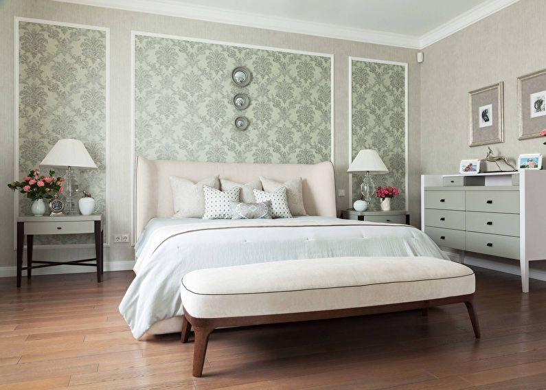 Вставка - комбинирование обоев в спальне