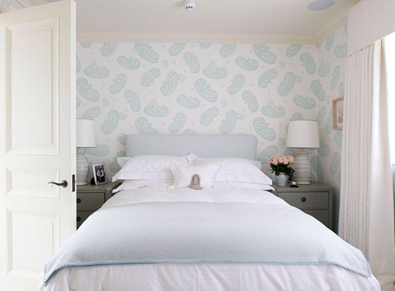 Boleh Dilihat Di Bahagian Dalam Bilik Tidur Sini Dibentangkan Variasi Warna Tunggal Jalur Dengan Corak Geometri Hiasan Bunga Wallpaper