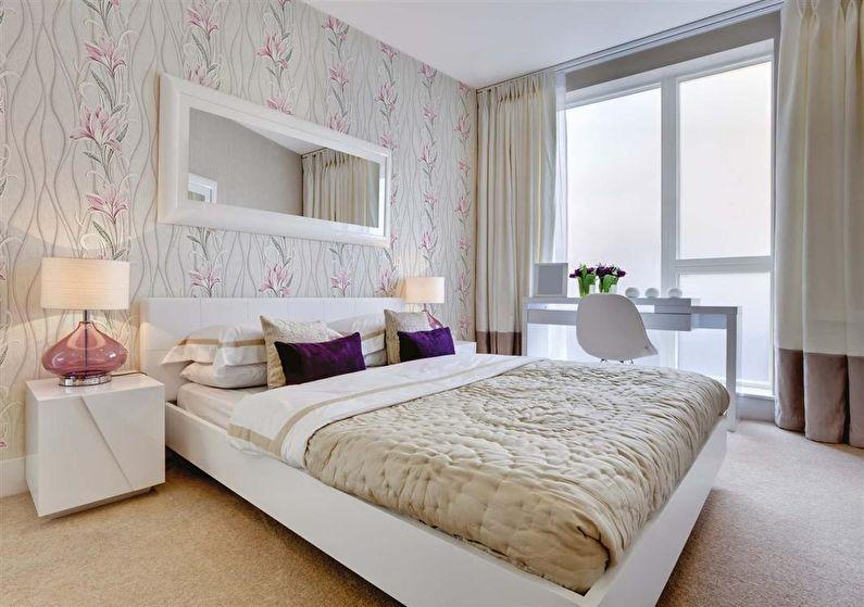 Светлые обои для спальни в современном стиле