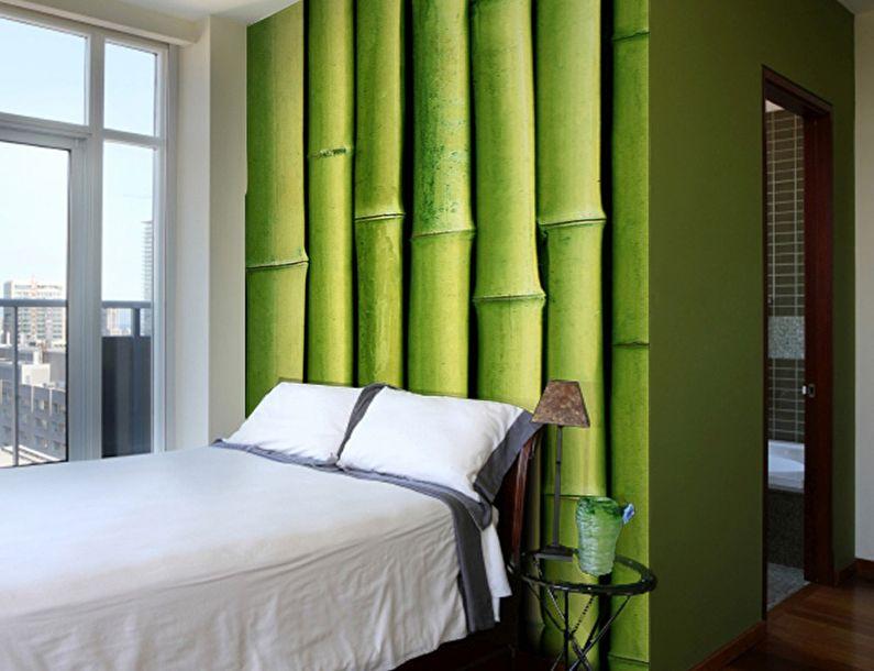 Зеленые фотообои в спальне