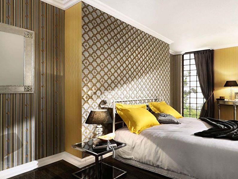 Спальня в классическом стиле - комбинирование обоев