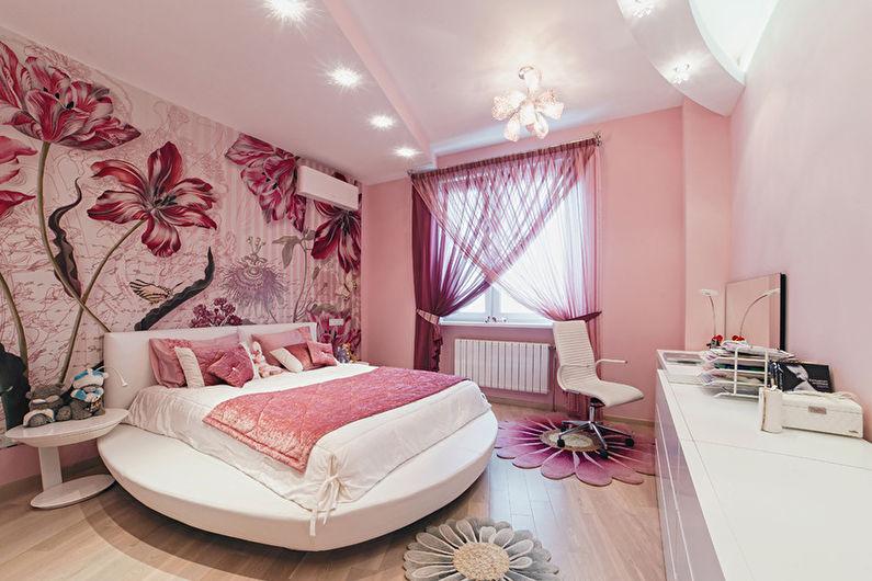 Розовые обои для спальни девушки