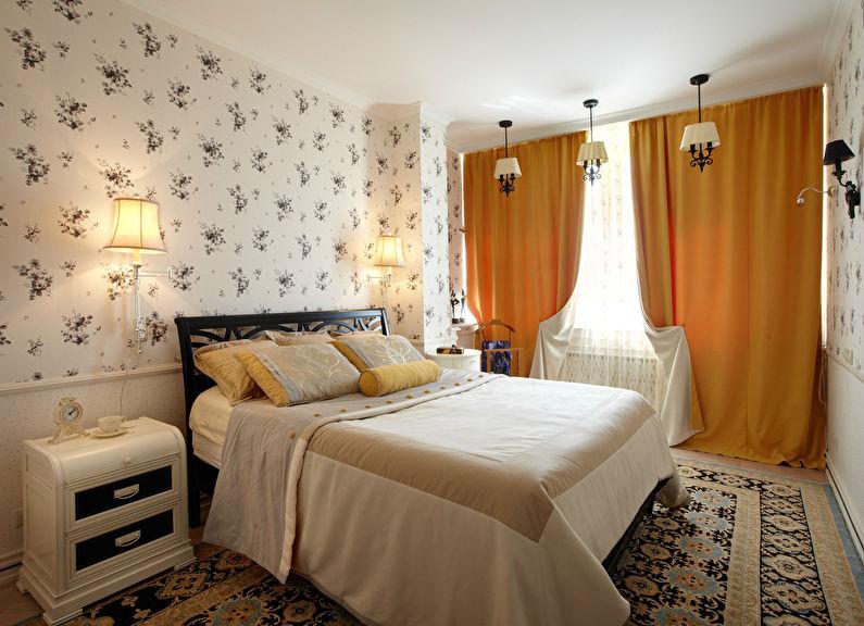Белые обои для спальни в стиле эклектика