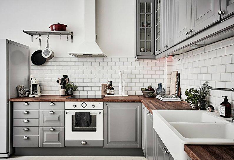 Серая кухня в скандинавском стиле - дизайн