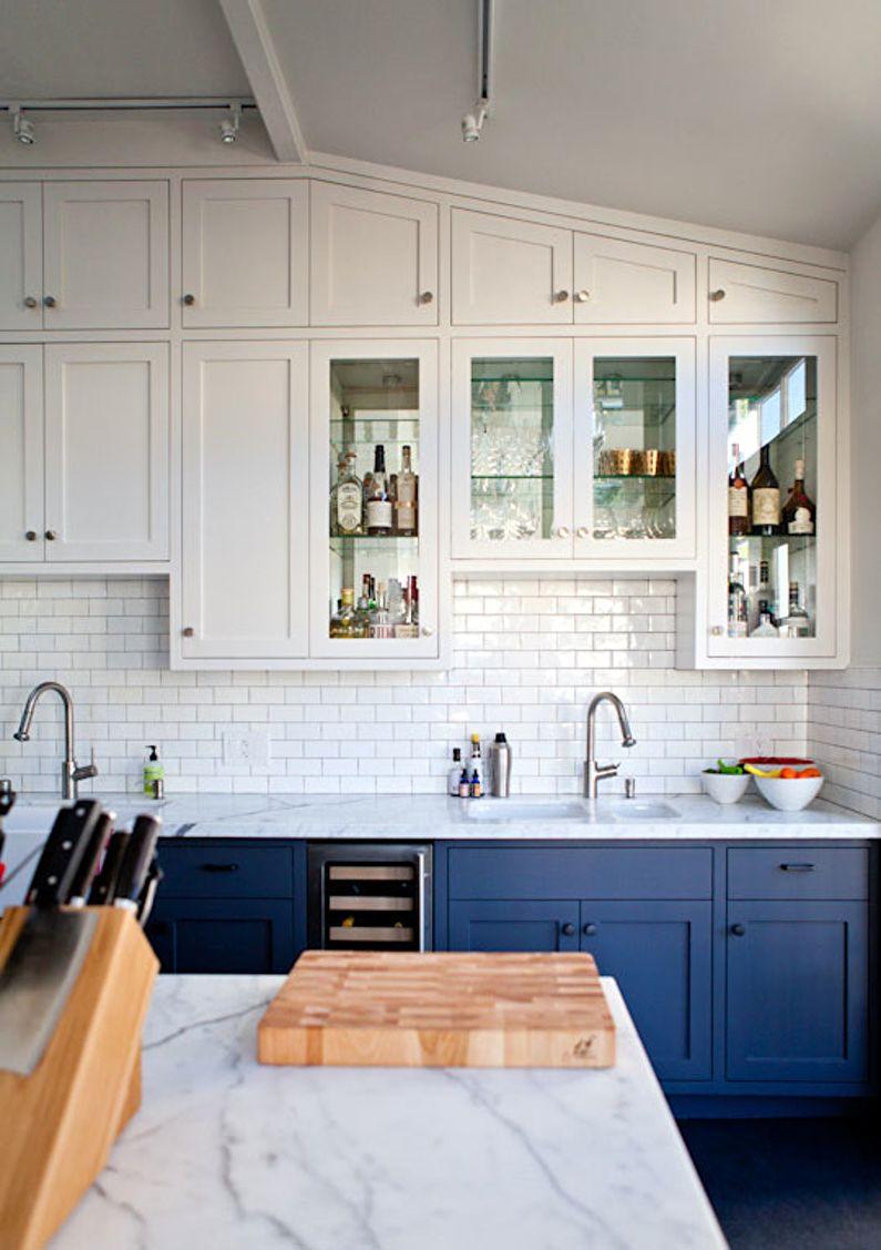Синяя кухня в скандинавском стиле - дизайн интерьера