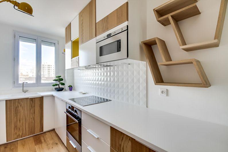 Дизайн кухни в скандинавском стиле - цвет беленого дерева