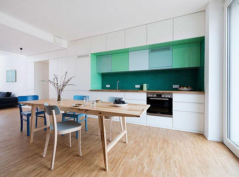 Зеленая кухня в скандинавском стиле - дизайн