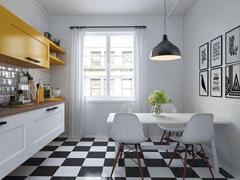 Дизайн пола на кухне в скандинавском стиле - черно-белая плитка