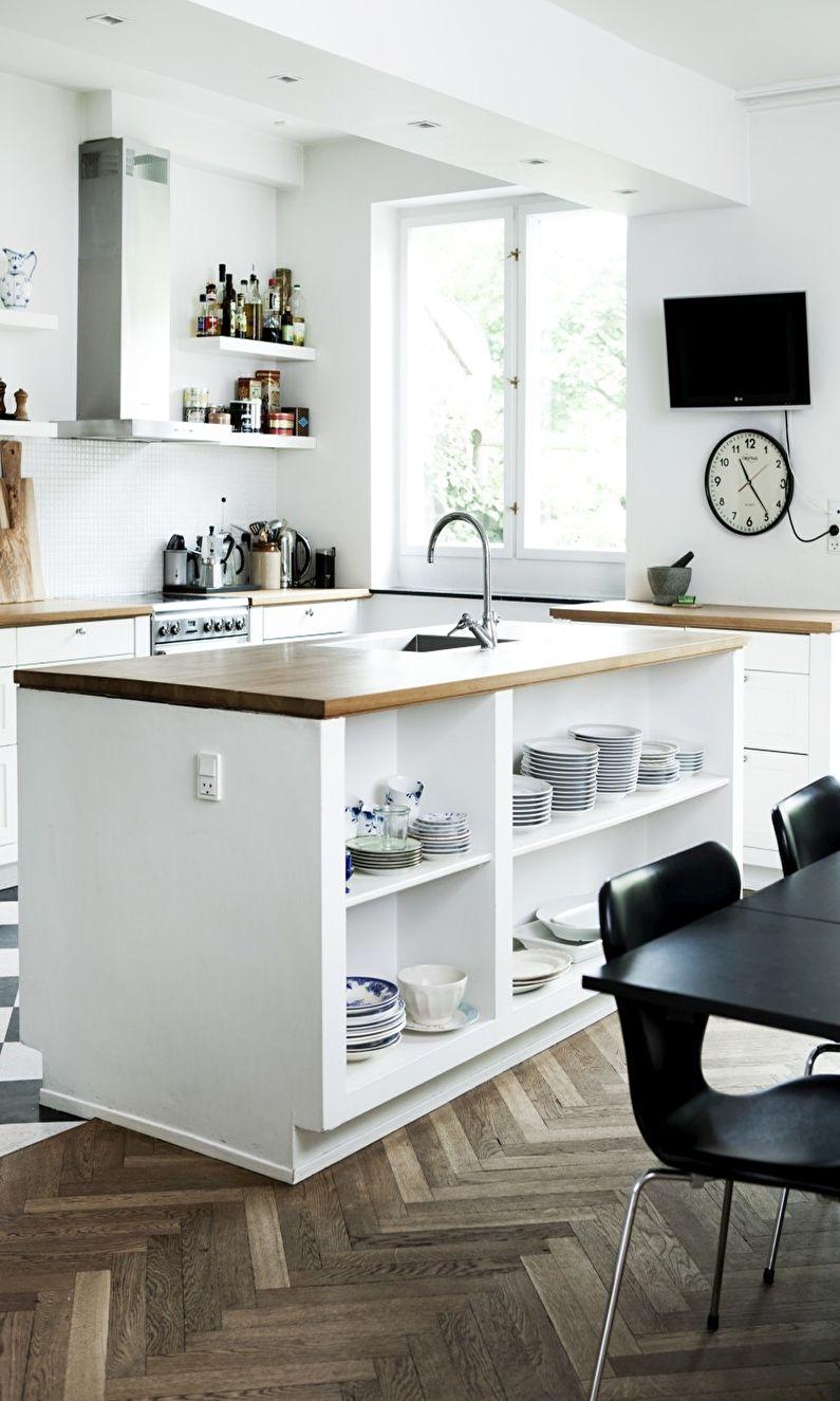 Дизайн пола на кухне в скандинавском стиле - паркет елочкой