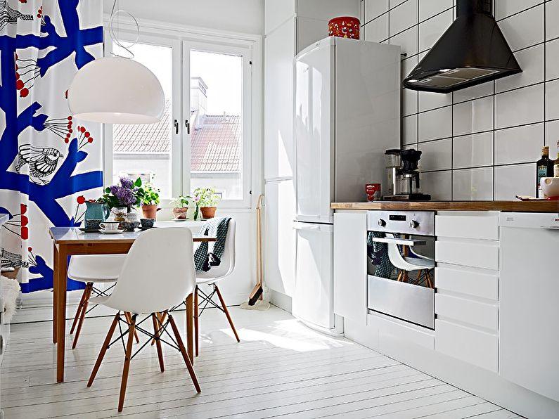 Дизайн интерьера кухни в скандинавском стиле - Занавески на окнах
