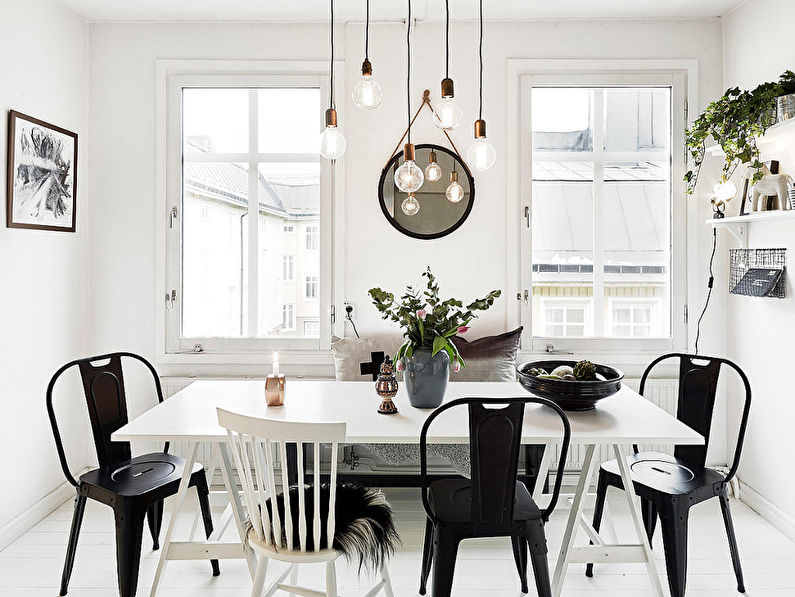 Обеденная зона - дизайн кухни в скандинавском стиле