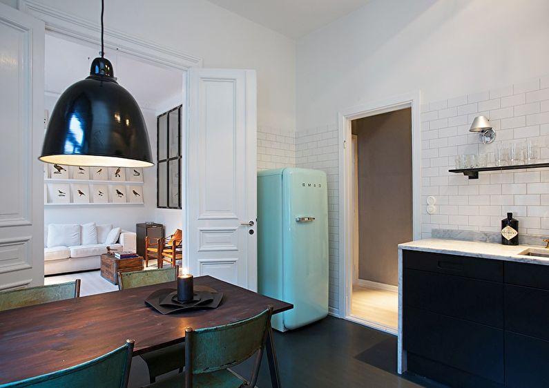 Холодильник - дизайн кухни в скандинавском стиле