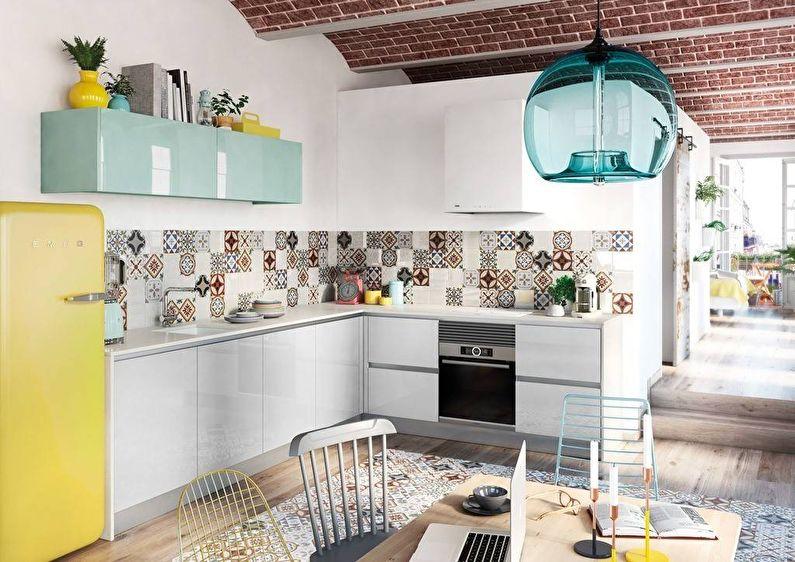 Кухня в скандинавском стиле с плиткой-пэчворк - дизайн интерьера