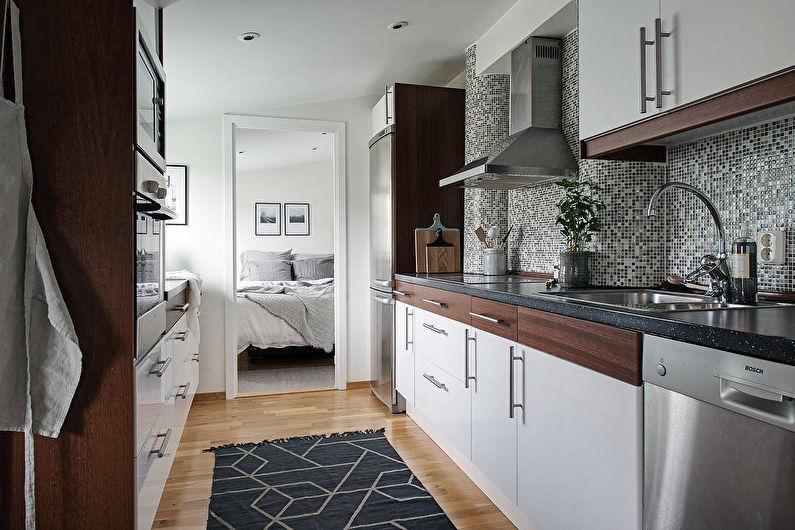 Фартук из мозаики - дизайн кухни в скандинавском стиле