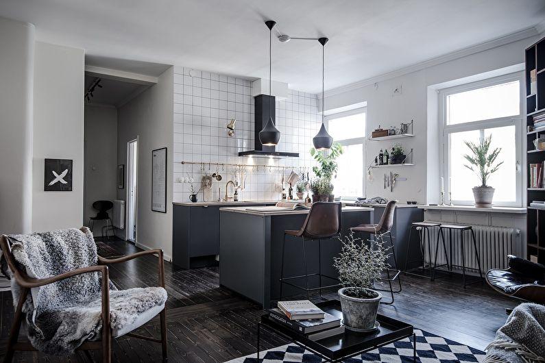 Кухня в скандинавском стиле, совмещенная с гостиной - дизайн интерьера
