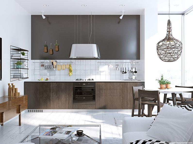 Коричневая кухня в скандинавском стиле - дизайн интерьера