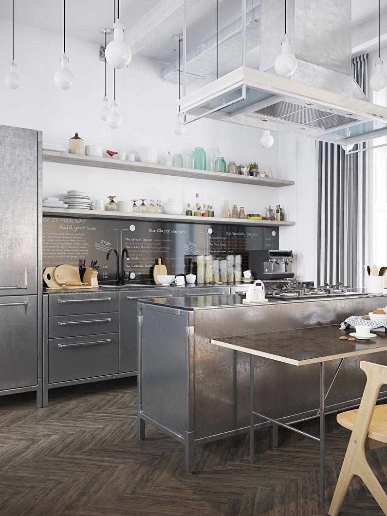 Кухня в скандинавском стиле с металлическими фасадами - дизайн интерьера