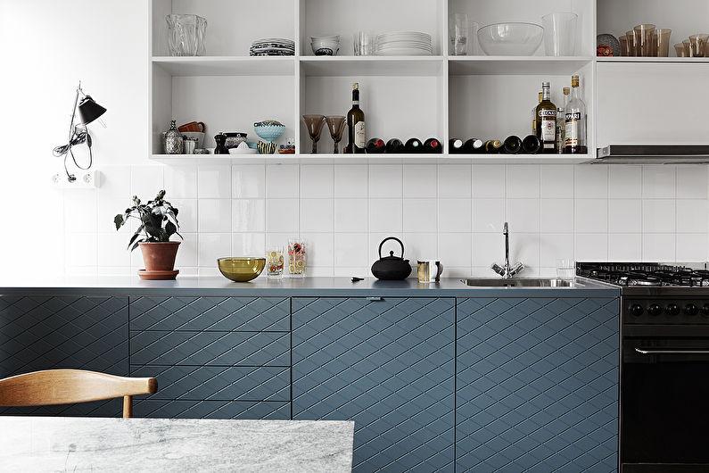 Сине-белая кухня в скандинавском стиле - дизайн интерьера