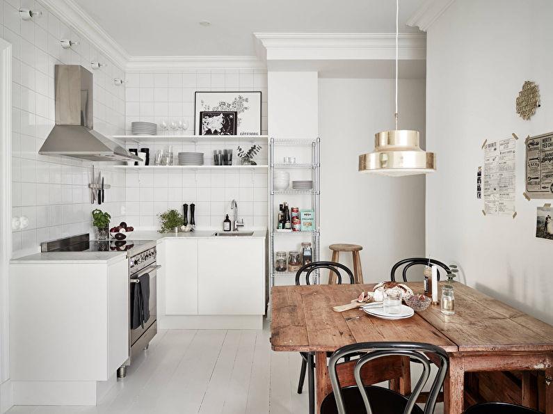 Белая кухня в скандинавском стиле - дизайн интерьера
