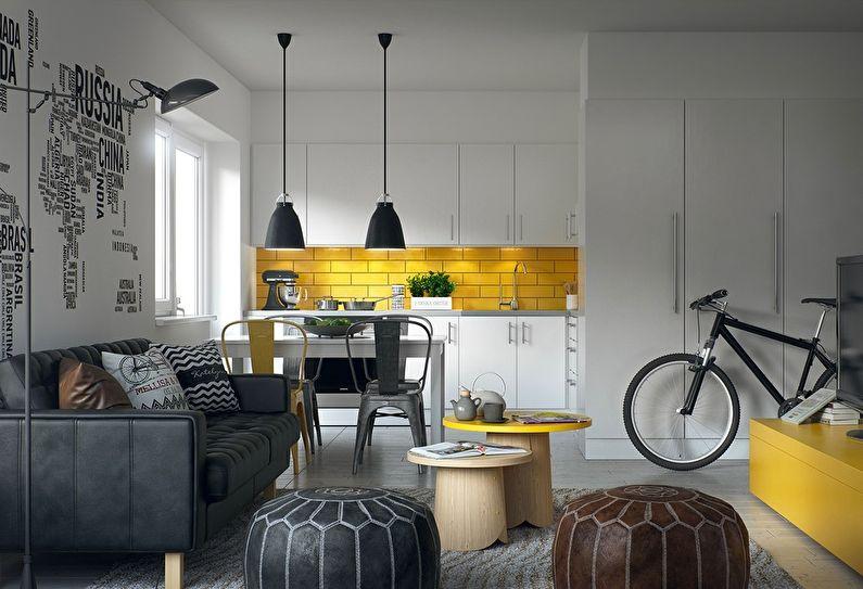 Белая кухня в скандинавском стиле с желтым фартуком - дизайн интерьера