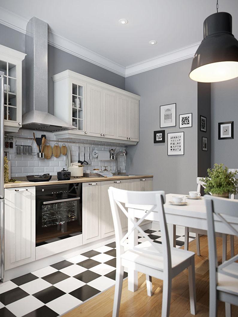 Дизайн кухни в скандинавском стиле - белый гарнитур, серые стены