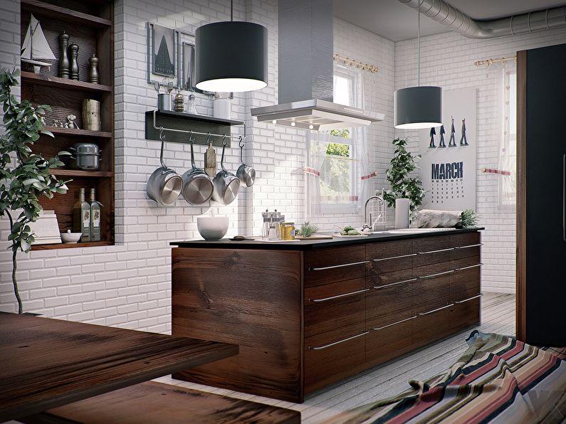 Дизайн кухни с островом - скандинавский стиль