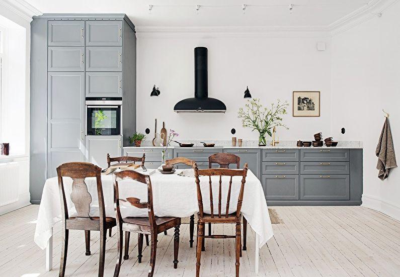 Дизайн кухни в скандинавском стиле - серый кухонный гарнитур