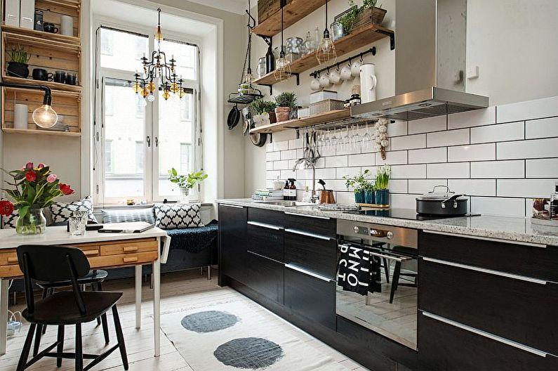 Черная кухня в скандинавском стиле - дизайн интерьера