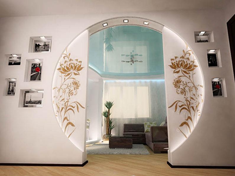Круглые арки из гипсокартона - дизайн, фото в интерьере