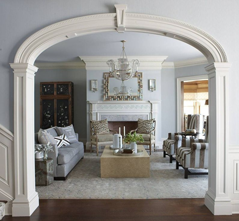 Эллиптические арки из гипсокартона - дизайн, фото в интерьере