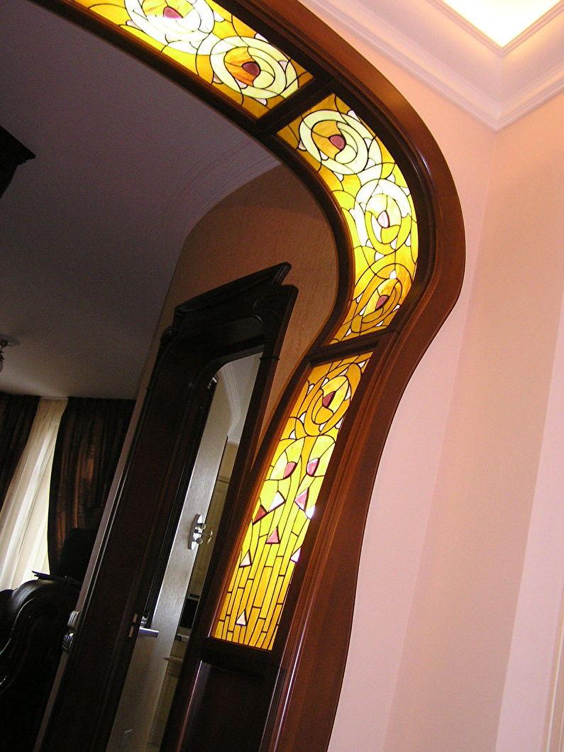 Витраж - отделка и оформление арки из гипсоркатона