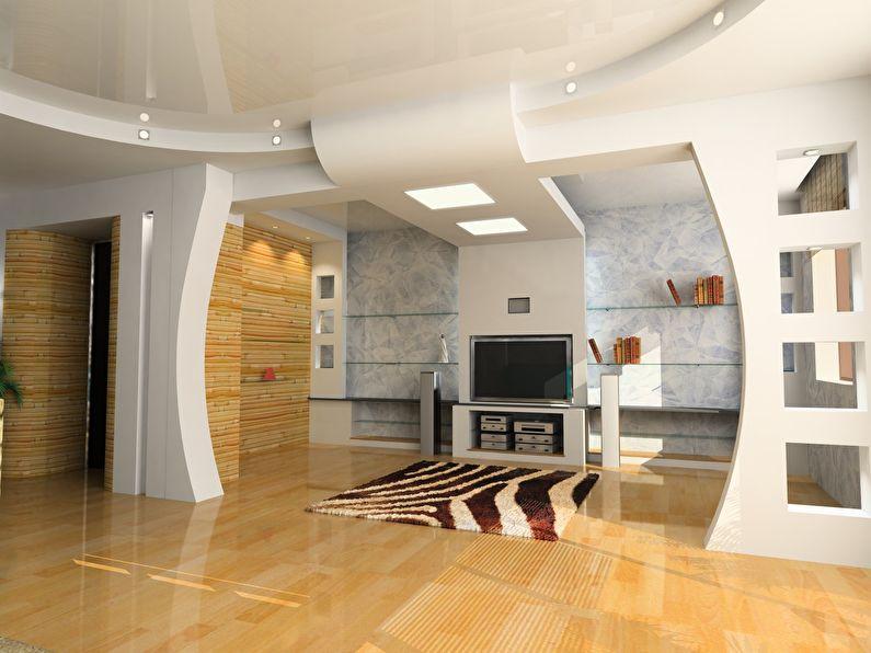 Фигурная арка из гипсокартона в гостиной - дизайн