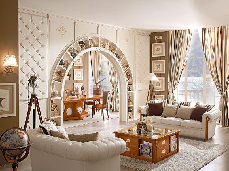 Полукруглая арка из гипсокартона в интерьере гостиной