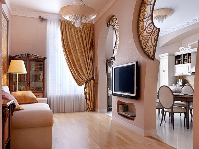 Арка из гипсокартона с витражами - гостиная, дизайн
