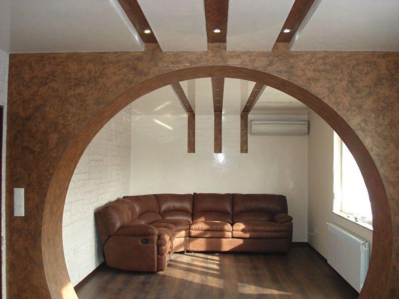 Круглая арка из гипсокартона в маленькой гостиной - дизайн