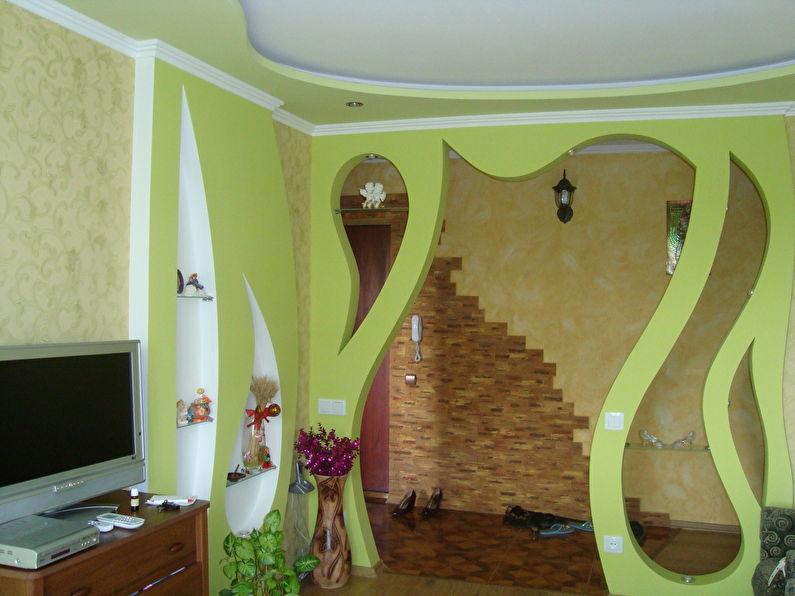 Межкомнатная арка из гипсокартона - гостиная, дизайн