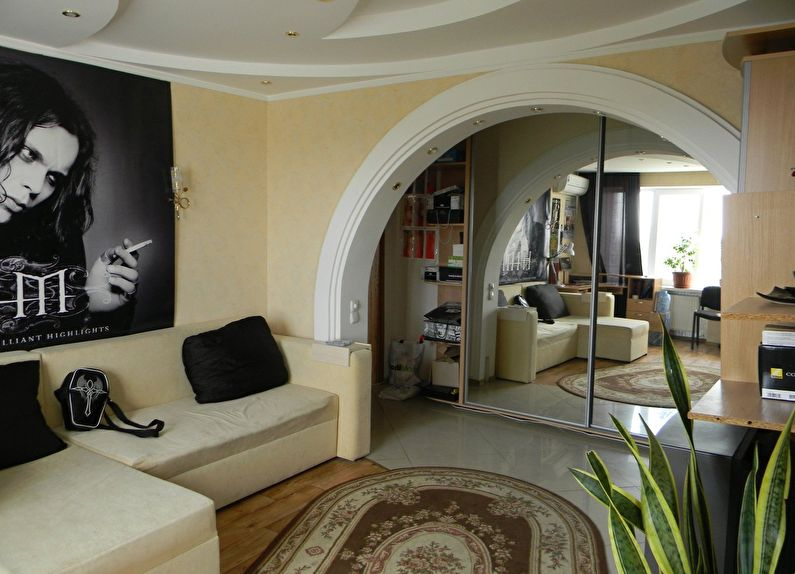 Арка из гипсокартона в интерьере гостиной - дизайн
