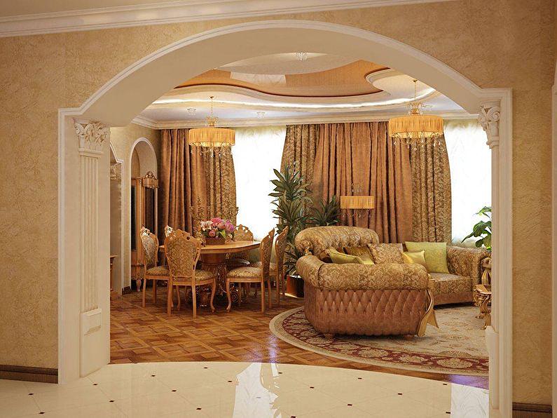 Арка из гипсокартона в гостиной - классический стиль, дизайн