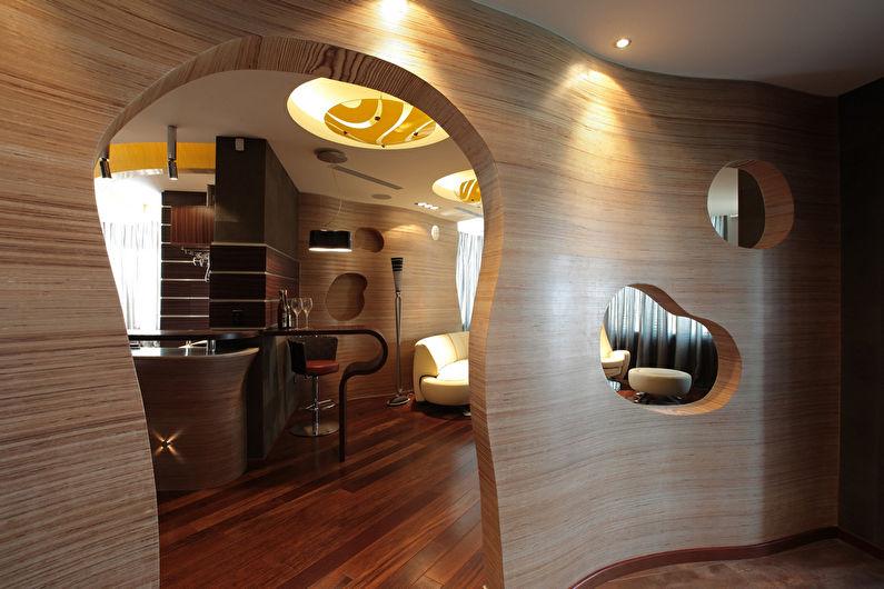 Фигурная арка из гипсокартона в прихожей - дизайн
