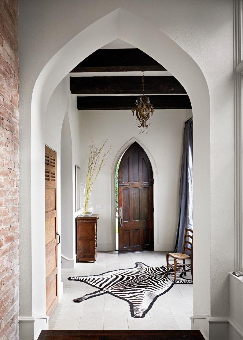 Арка из гипсокартона в восточном стиле - прихожая и коридор
