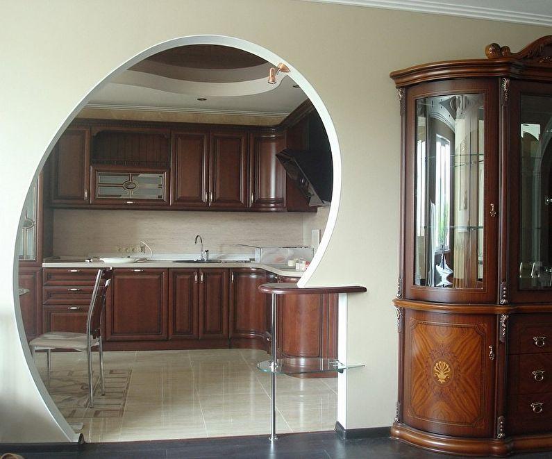 Круглая арка из гипсокартона на кухне - дизайн