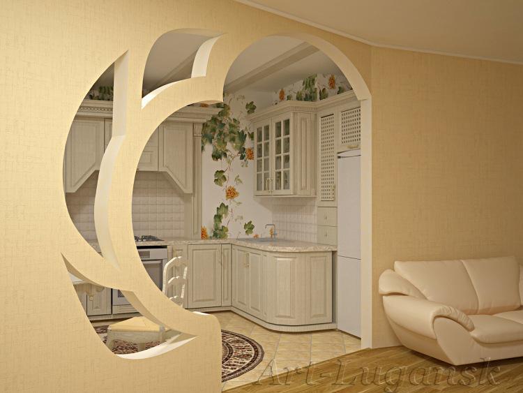 Дизайн декоративной арки из гипсокартона на кухне