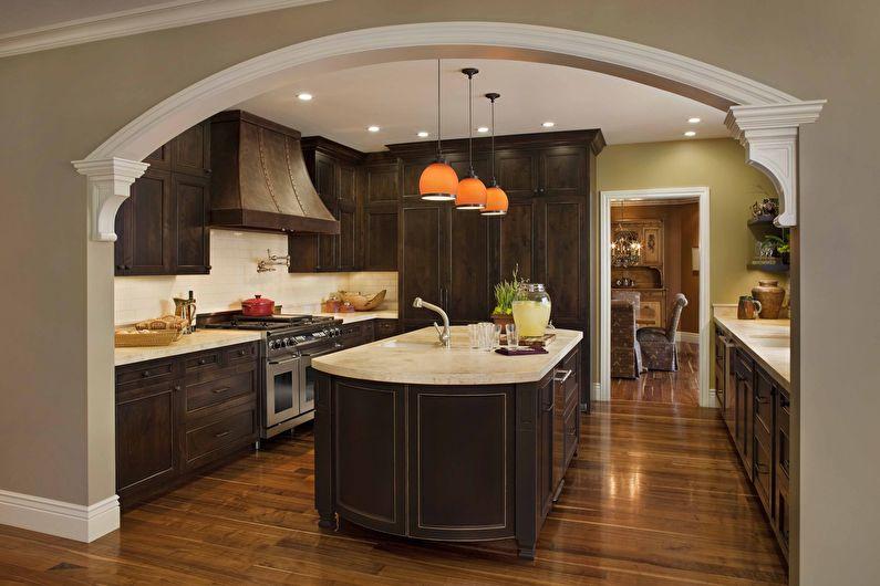 Арка из гипсокартона на кухне - дизайн