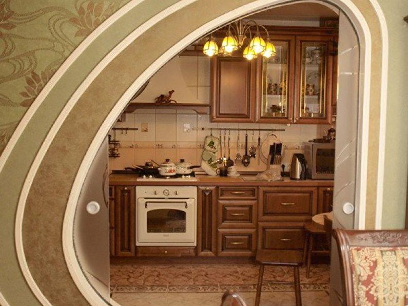 Фигурная арка из гипсокартона на кухне - дизайн
