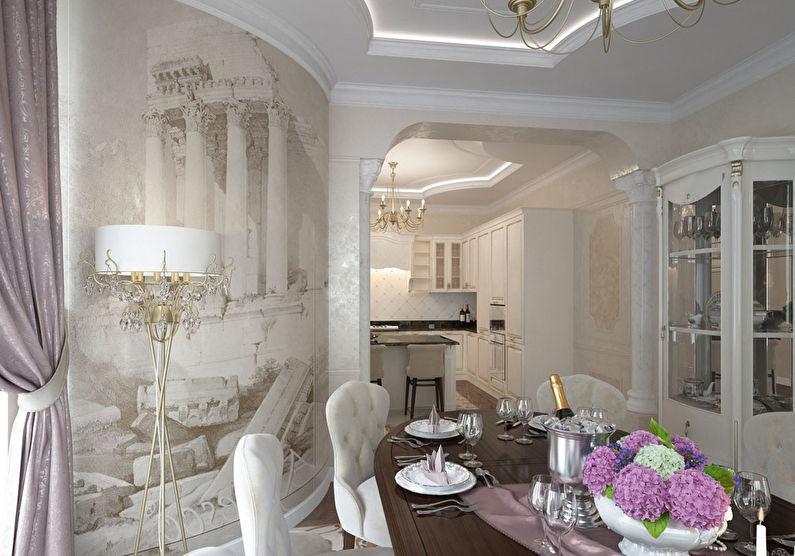 Арка из гипсокартона на кухне в классическом стиле - дизайн