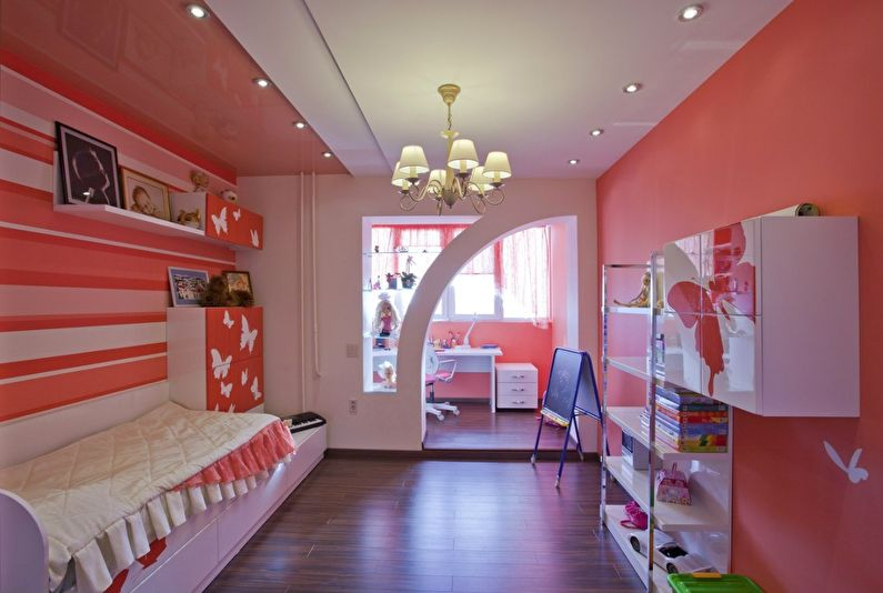Фигурная арка из гипсокартона в детской комнате - дизайн