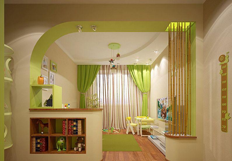 Арка из гипсокартона в интерьере детской комнаты