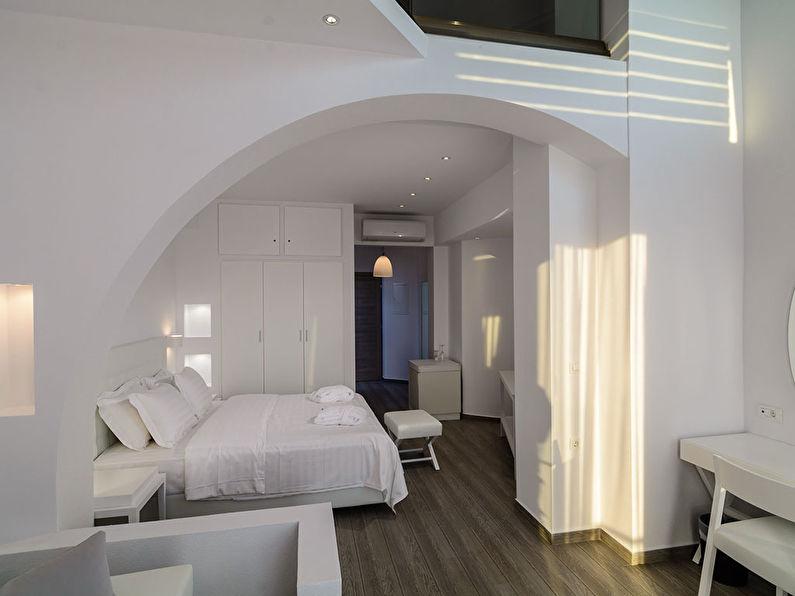 Круглая арка из гипсокартона в спальне - дизайн