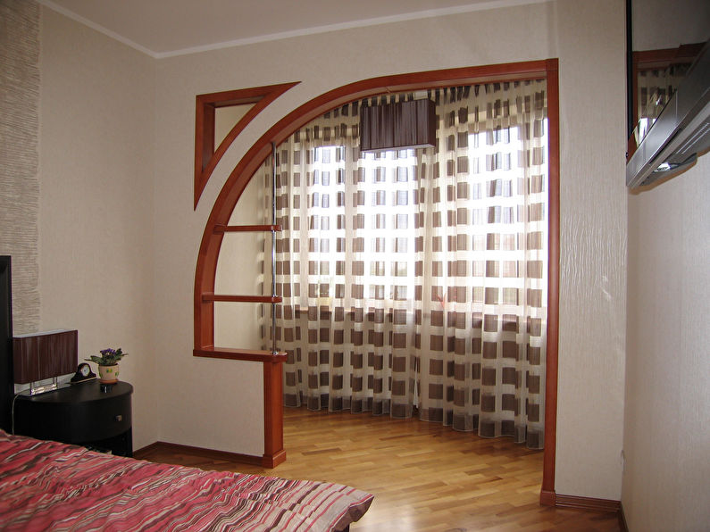 Фигурная арка из гипсокартона в спальне - дизайн