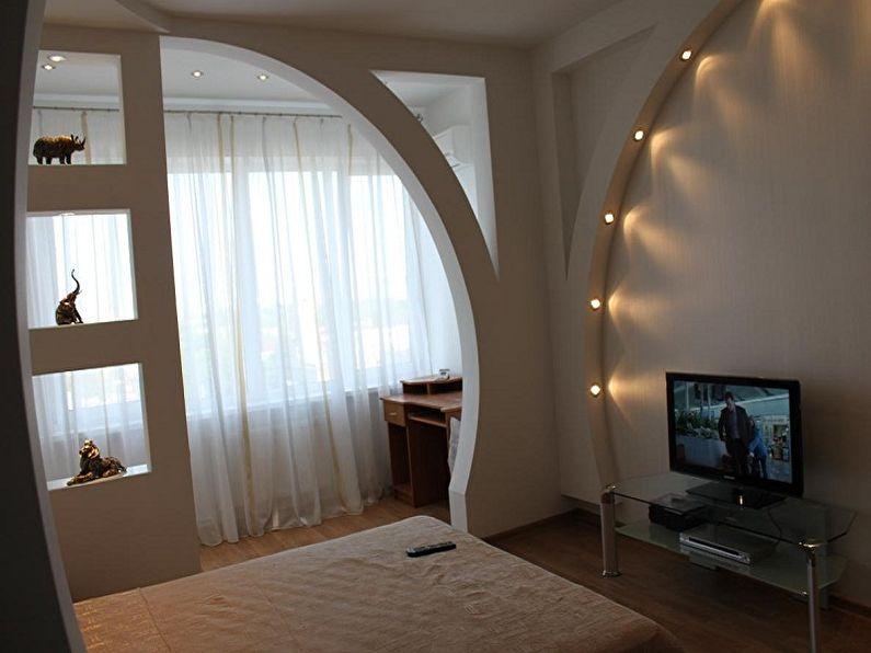 Декоративная арка из гипсокартона в спальне - дизайн